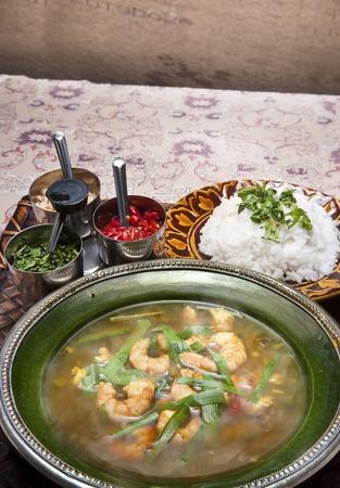 leek: Shrimp and leek curry Stock Photo