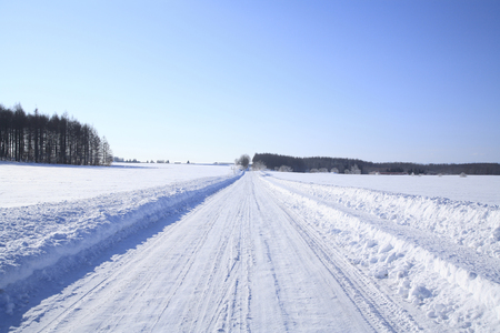 superb: Snowy road Stock Photo