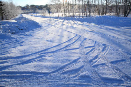 tire marks: Tire marks of the snow-covered road