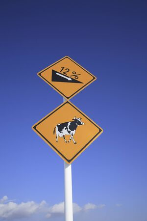 pastures: Blue sky and road signs