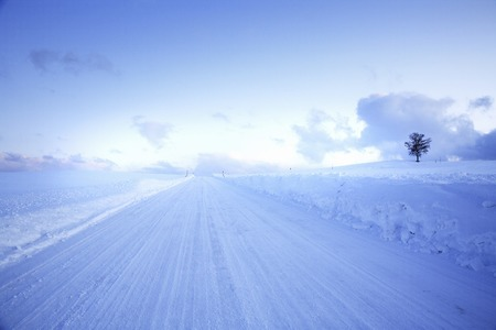 straight path: One of the winter road