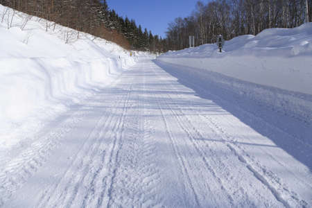 compacted: Snowy road Stock Photo