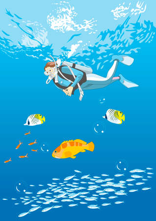asian lifestyle: Diver and fish Stock Photo