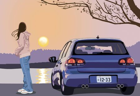 rearview: Women look at the sunset and down from the car