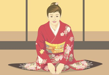 Women who have a greeting in kimono