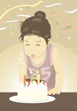 japanese dessert: Children it is blown off the candle of birthday cake