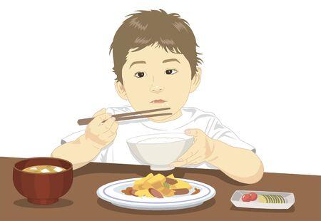 ご飯を食べて子供たち
