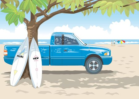 4wd: The shade of a tree and surfboard Stock Photo