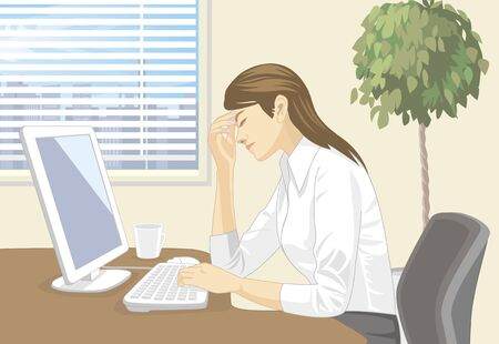 weariness: Women working in the computer