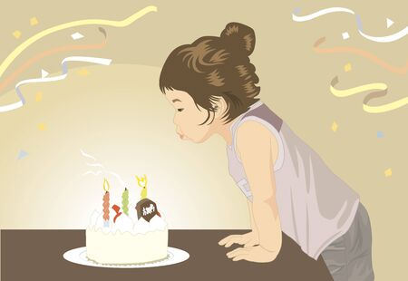 blown: Children it is blown off the candle of birthday cake