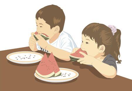 スイカを食べている子供たち