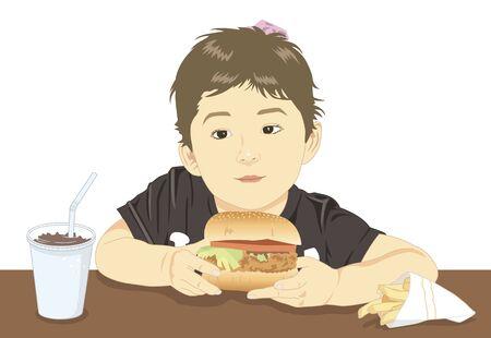 na: Children have a hamburger