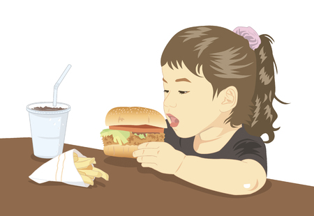 na: Children who eat a hamburger