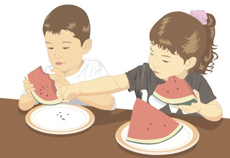 watermelon woman: Children who have taken the seeds of watermelon