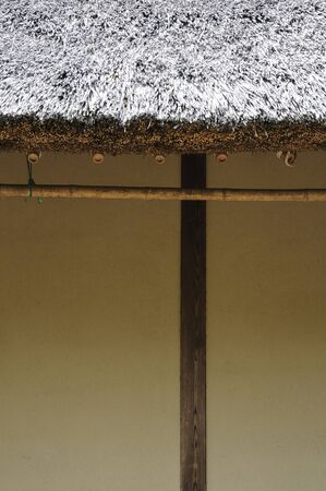 earthen wall: Japanese house and the earthen wall and a laundry pole