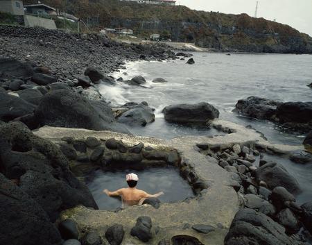 openair: Mizunashi seaside hot spring open-air bath Stock Photo
