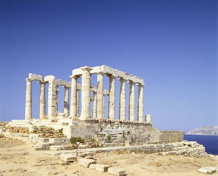 antigua grecia: Templo de Poseidón  Foto de archivo