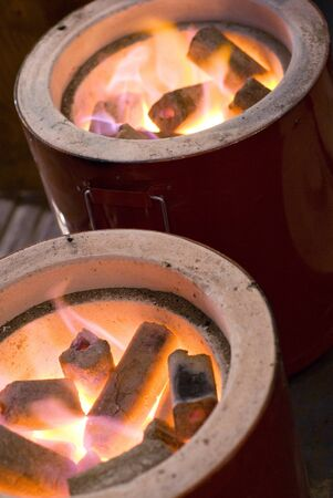 stove fire: Charcoal fire of charcoal stove