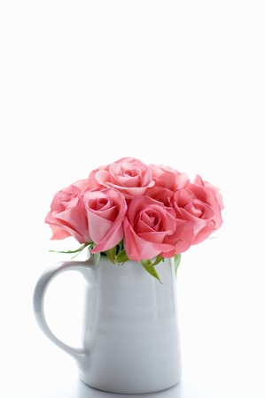 ikebana: Arranged in a white vase, pink roses
