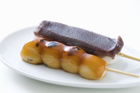 paste: Mitarashi dumplings and bean paste dumpling Stock Photo