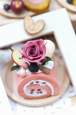花のケーキ 写真素材