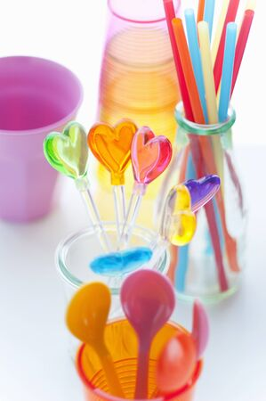 tableware: Colorful tableware Stock Photo
