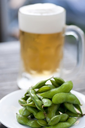 draft beer: Edamame and draft beer