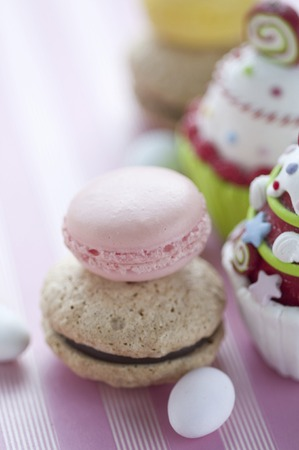 dragees: Macaroon and dragees Stock Photo