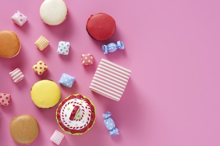 candy background: Colorful gadgets and suites Stock Photo