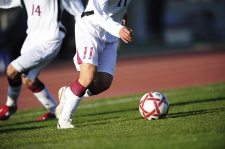 football match lawns: Soccer scene Stock Photo
