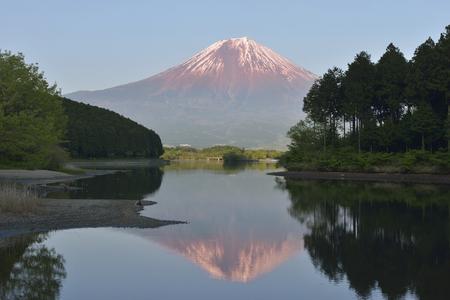 sunset lake: Fuji and Lake Tanuki