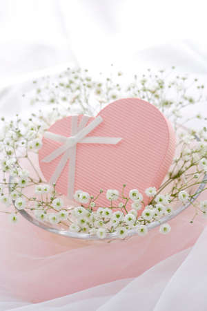 pink heart: Pink Heart gift Stock Photo