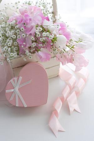 flower basket: Pink Hearts and flower basket