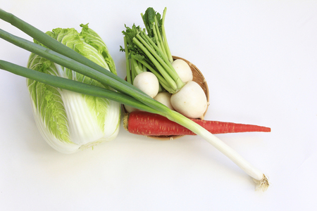 green onion: Turnip and Kintoki carrots and Chinese cabbage and green onion