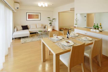 Apartment living dining Zdjęcie Seryjne