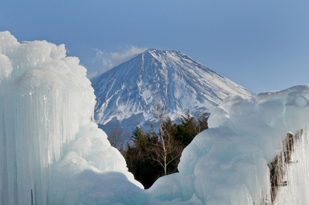 saiko: Icicle and Mt. Fuji from saiko wild birds forest park Stock Photo