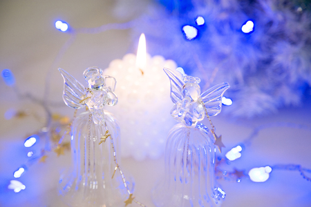 christmas decorations: Christmas decorations and candles Stock Photo