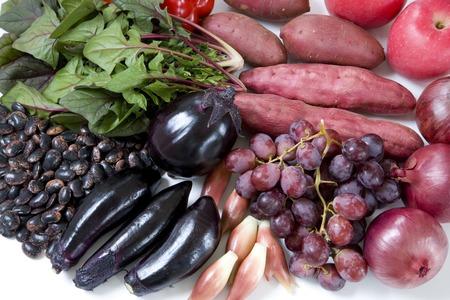 野菜と紫の果実 写真素材