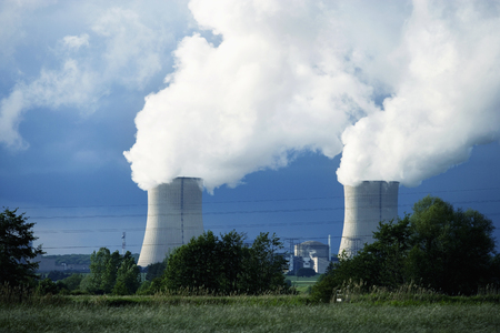 nuclear power plant: Chimney and smoke of nuclear power plant
