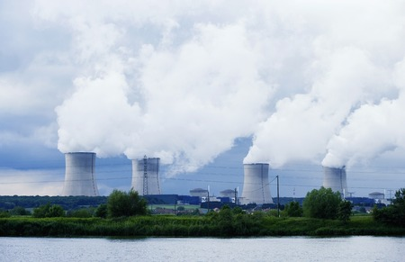 Chimney and smoke of nuclear power plant