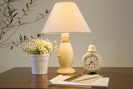 desk: Desk lamp and desk Stock Photo