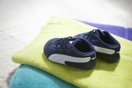 baby shoes: Baby shoes and towels