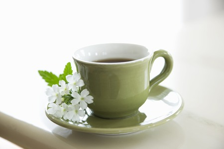 Verbena flowers and coffee cup