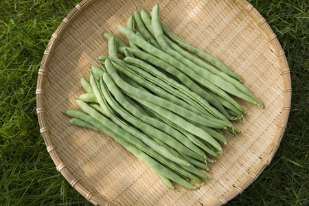 a colander: Green beans and colander