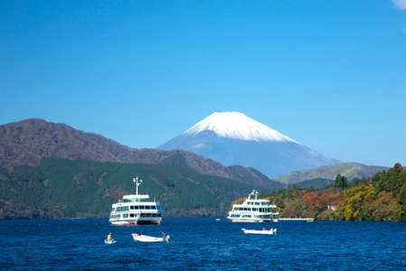 pleasure ship: Fuji and Lake Ashi sightseeing boat Stock Photo