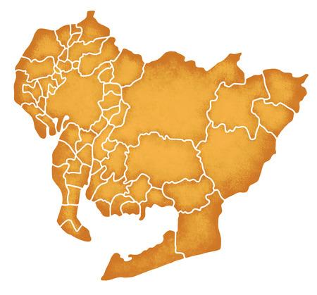 愛知県の境界線含む地図