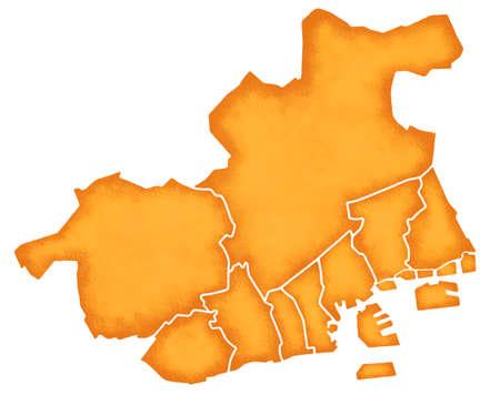 kobe: Kobe border containing map Stock Photo