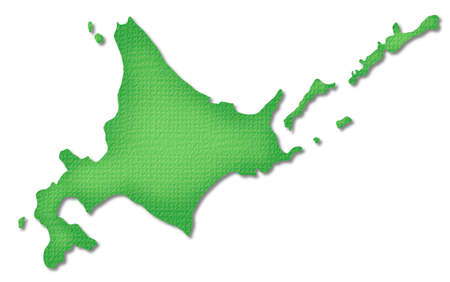 hokkaido: Hokkaido map of Paper Craft tone