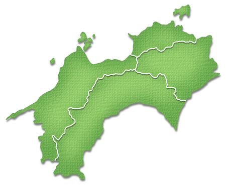 shikoku: Shikoku map of Paper Craft tone Stock Photo