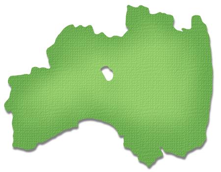 fukushima: Fukushima Prefecture map of Paper Craft tone